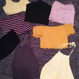 Mixed Bundle of 8 halter crop and tube tops M/L